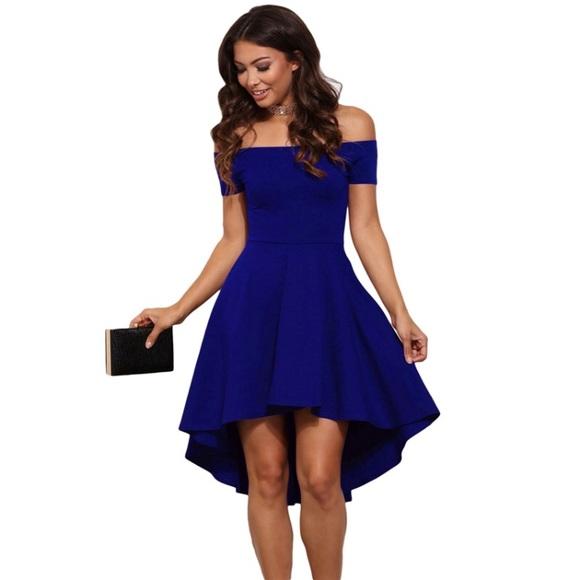 0f77580d55c9 Blue Off Shoulder High-Low Midi Dress
